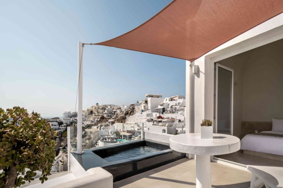 Balcony view from Exclusive Suite with Infinity Jacuzzi in Alta Mare by Andronis Hotel, Santorini