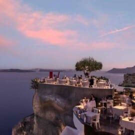 Terrace of Lycabettus Restaurant in Santorini